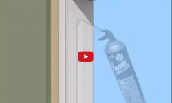 Image of canned foam filling a weight pocket in a double hung window