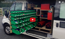 Video about a rolling parts rack that extends from either side of a van