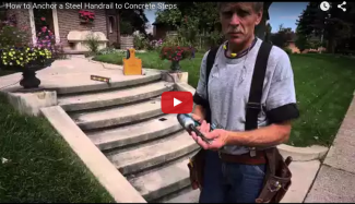 A video about how to install handrails for concrete steps