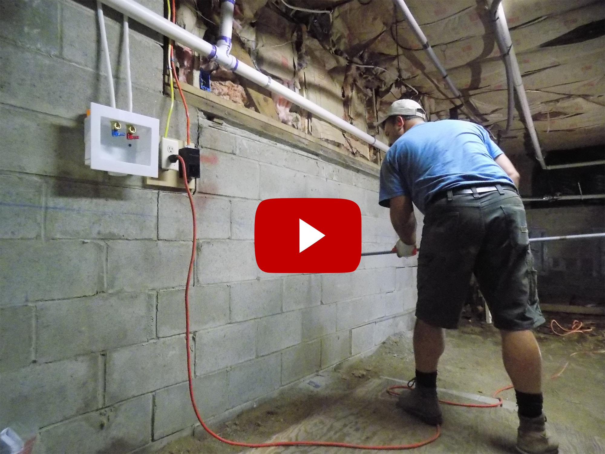 Stabilizing A Bowing Foundation Wall With Geolock Anchors