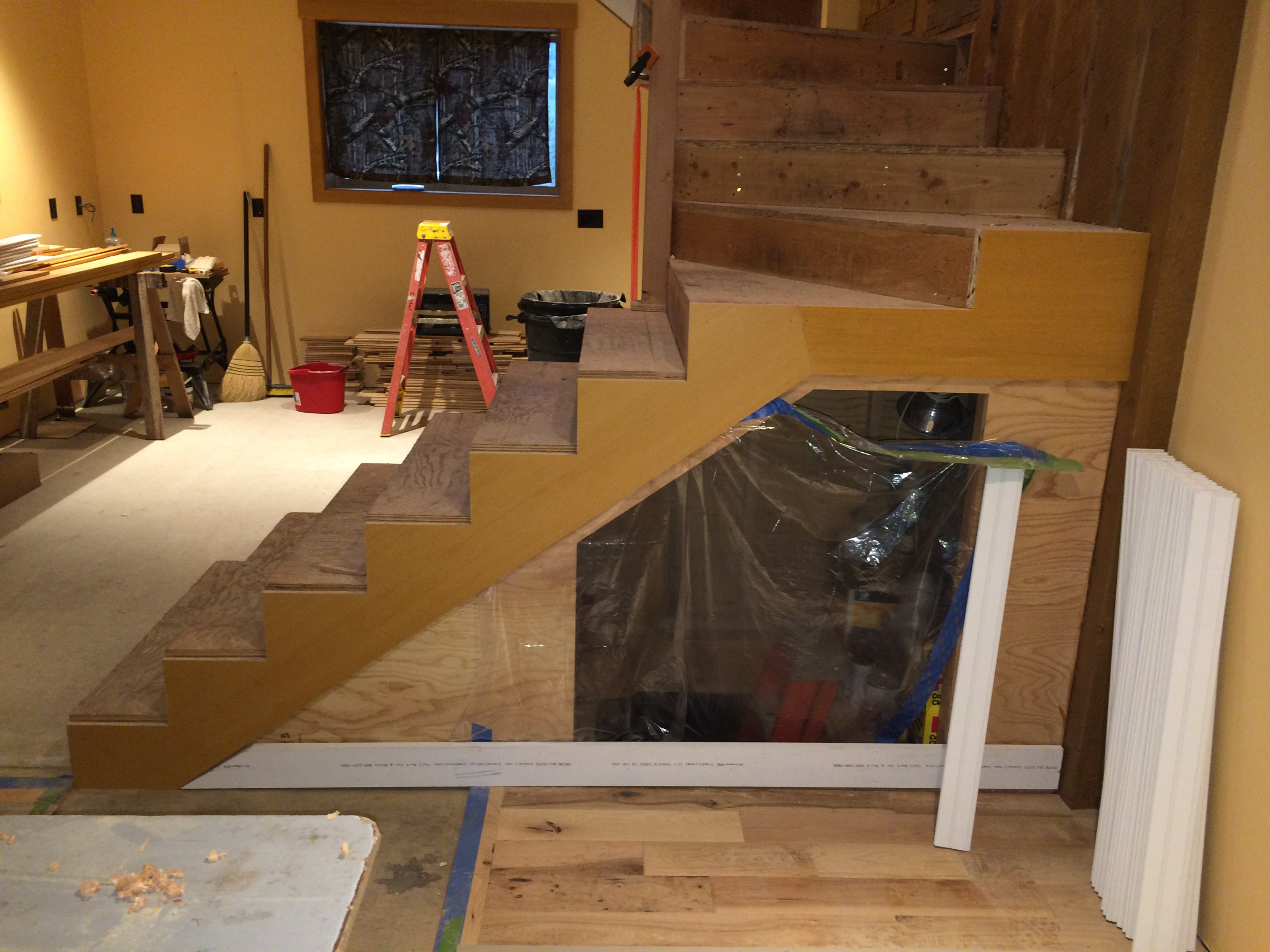 Stair Trim Out (3)u2014Prefinished Plywood Skirt Boards