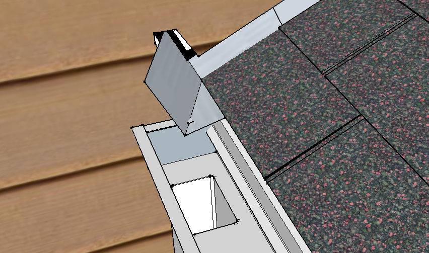 Kickout flashing at the intersection of a roof and wall