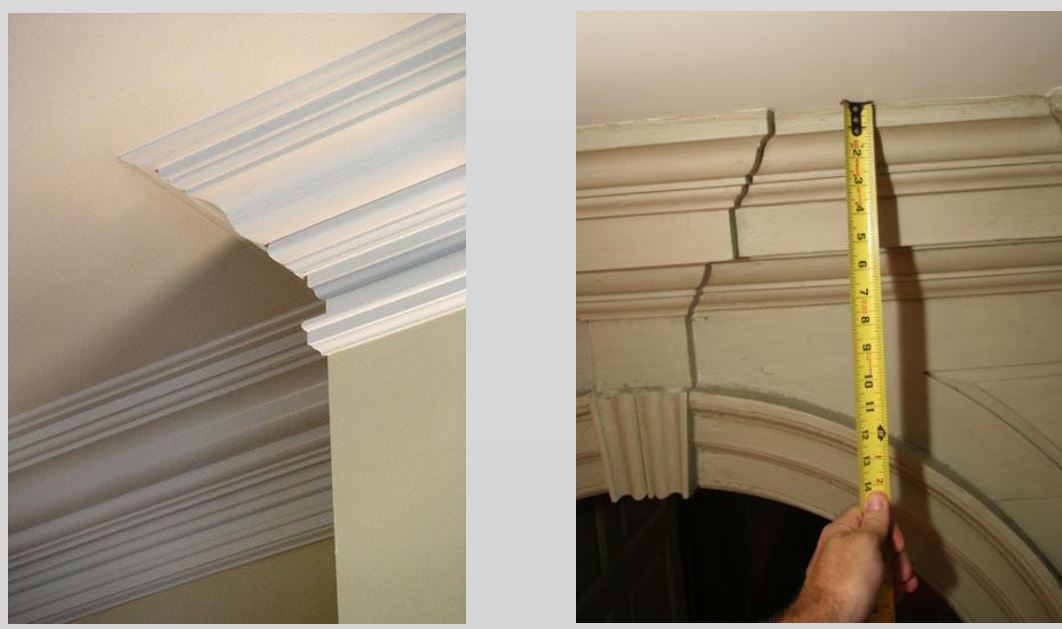 the cornice on the left has many profiles that are difficult to read look to the far left see all the lines on the wall without seeing the corner profile